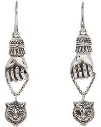 Gucci - Silver Feline Pendant Earrings - Lyst