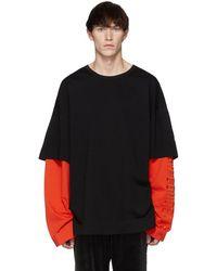 Juun.J - Ssense Exclusive Black And Orange Layered Long Sleeve T-shirt - Lyst