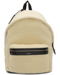 Saint Laurent - Off-white Shearling City Backpack - Lyst