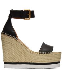 See By Chloé - Black Leather Wedge Espadrilles - Lyst