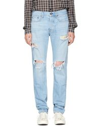 Rag & Bone - Ssense Exclusive Blue Standard Issue Fit 3 Jeans - Lyst
