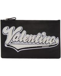 Valentino - Black Garavani Varsity Logo Pouch - Lyst
