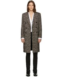 Saint Laurent - Tricolor Double-breasted Wool Coat - Lyst