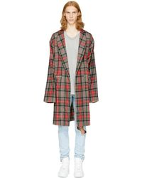 Fear Of God - Brown Plaid Robe Coat - Lyst