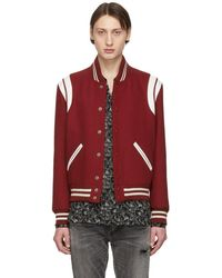 Saint Laurent - Red Wool Teddy Bomber Jacket - Lyst