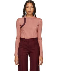 Nina Ricci - Pink Leather-trimmed Sweater - Lyst