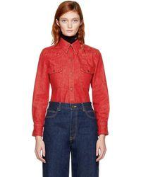 CALVIN KLEIN 205W39NYC - Red Denim Shirt - Lyst