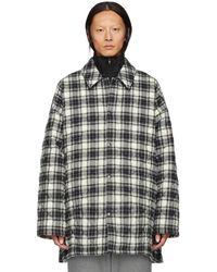 Balenciaga - Grey Check Flannel Padded Shirt Coat - Lyst