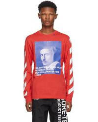 Off-White c/o Virgil Abloh Red Diagonal Bernini Long Sleeve T-shirt