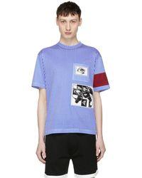 Prada | Blue And White Stripe Jwp Riga Patch T-shirt | Lyst