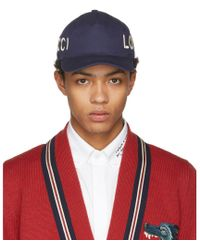 71349cdb0e6 Gucci Loved Embroidered Baseball Cap in Red for Men - Lyst