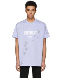 Givenchy - Blue Distressed Colombian T-shirt - Lyst