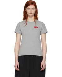 Play Comme des Garçons - Grey And Red Double Heart T-shirt - Lyst
