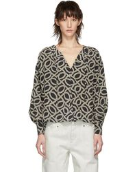 Isabel Marant - Black And Off-white Andora Blouse - Lyst