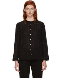 Raquel Allegra - Black Plaid Gauze Shirt - Lyst