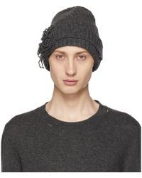 Maison Margiela - Off-white Destroyed Beanie - Lyst