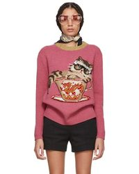 Gucci - Pink Jacquard Cat And Glasses Sweater - Lyst