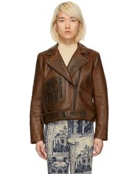 Acne Studios - Brown Leather New Merlyn Jacket - Lyst