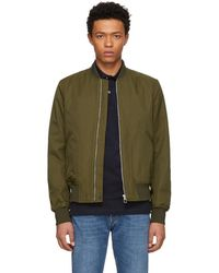 PS by Paul Smith - Khaki Cotton And Nylon Bomber Jacket - Lyst