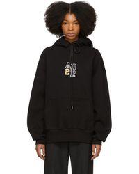 ADER error - Black Oversized Logo Hoodie - Lyst
