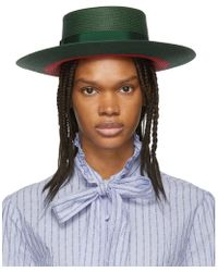 Gucci - Green And Red Straw Hat - Lyst
