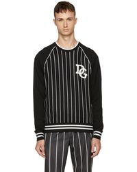 Dolce & Gabbana - Black And White Striped The King Jumper - Lyst