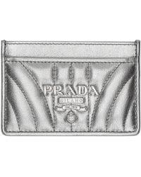 Prada - Silver Quilted Logo Card Holder - Lyst