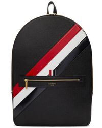 Thom Browne - Black Diagonal Stripe Backpack - Lyst