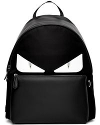 Fendi - Monster Eyes Leather And Nylon Backpack With Bag Bugs Eyes Patching - Lyst