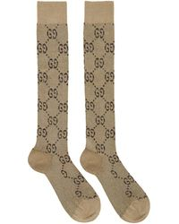 9c24617dd Gucci - Beige And Brown GG Supreme Socks - Lyst