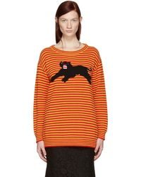 Gucci - Yellow And Red Striped Puma Sweater - Lyst