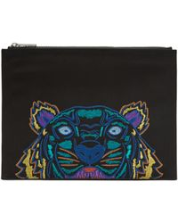KENZO | Black Holiday Canvas A4 Tiger Pouch | Lyst