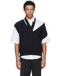 Raf Simons - Black Cropped Knit Vest - Lyst
