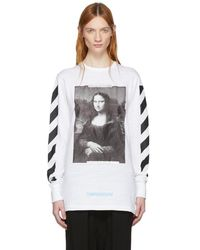 Off-White c/o Virgil Abloh - White And Black Diagonal Monalisa T-shirt - Lyst