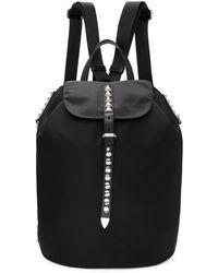 Prada - Black Studded New Vela Backpack - Lyst