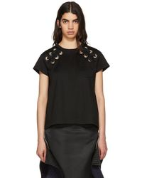 Sacai - Black Lace-up T-shirt - Lyst