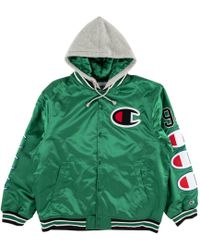 Supreme - Champion Hooded Satin Varsity Jacket Kelly Green - Lyst