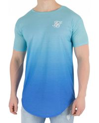 Sik Silk - Teal/blue Curved Hem Faded T-shirt - Lyst