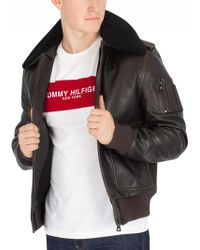 Tommy Hilfiger - Golden Brown Aviator Shearling Leather Jacket - Lyst