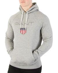 GANT - Grey Melange Shield Pullover Hoodie - Lyst