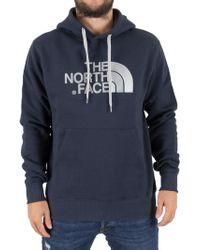 The North Face - Navy Drew Peak Pullover Logo Hoodie - Lyst