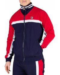 1664901353 Fila - Peacoat/chinese Red/white Diego Panelled Track Jacket - Lyst