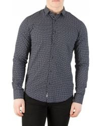 Scotch & Soda - Navy Longsleeved Pattern Shirt - Lyst