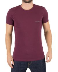 Emporio Armani - Burgundy Left Chest Logo T-shirt - Lyst