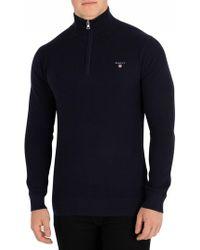 GANT - Evening Blue Cotton Pique Half Zip Sweatshirt - Lyst