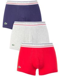 Lacoste - Navy/grey/red 3 Pack Cotton Stretch Trunks - Lyst