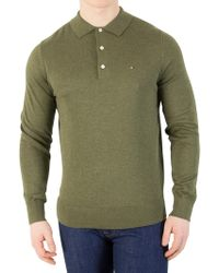 Tommy Hilfiger - Four Leaf Clover Heather Cotton Silk Longsleeved Polo Shirt - Lyst