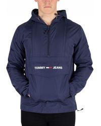 Tommy Hilfiger Black Iris Navy Nylon Shell Solid Popover Jacket