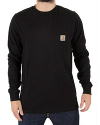 Carhartt WIP - Black Longsleeved Pocket T-shirt - Lyst
