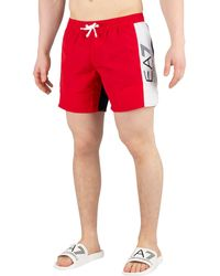 EA7 Sea World Block Swim Shorts - Red